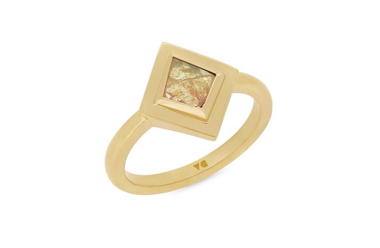 Natural cut unique orange-yellow kite shaped diamond 18ct yellow gold ring