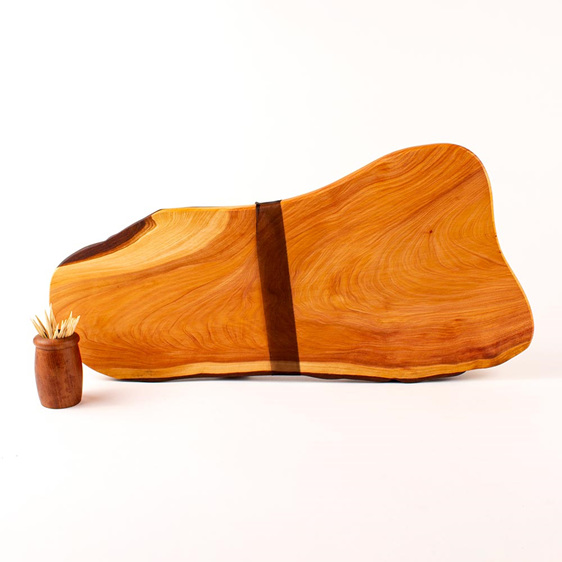 natural edge board and knife set 471