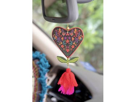 Natural Life Air Freshener Tassel Heart Flower