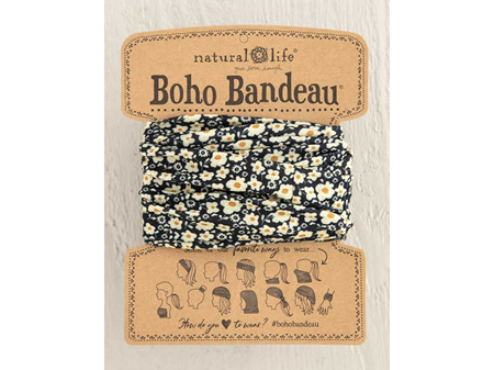 Natural Life Boho Bandeau Black Cream Floral