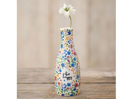 Natural Life Bud Vase Floral Be Happy