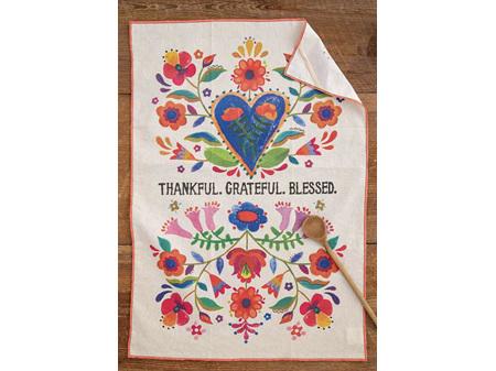 Natural Life Cotton Tea Towel Thankful Grateful