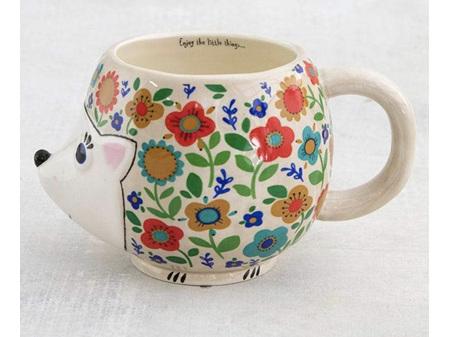 Natural Life Folk Mug Floral Hedgehog