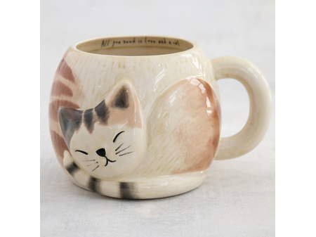 Natural Life Folk Mug Sleeping Cat