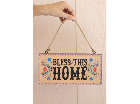 Natural Life Hanging Sign Bless this Home