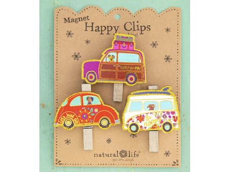 Natural Life Happy Clips with Magnets Lets Just Go Vehicles Set 3