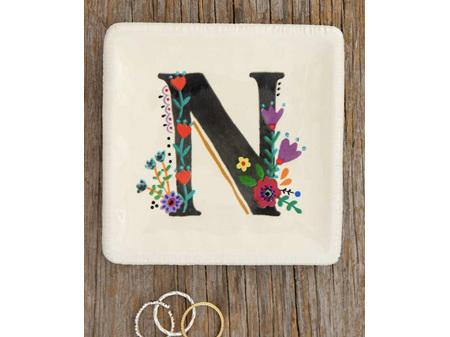 Natural Life Initial Trinket Dish Floral N