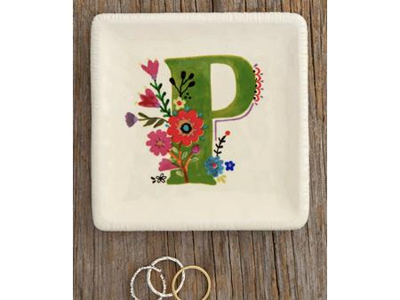 Natural Life Initial Trinket Dish Floral P