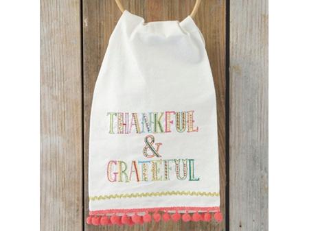 Natural Life Linen Tea Towel Thankful Grateful