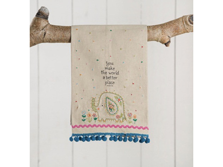 Natural Life Linen Tea Towel You Make the World