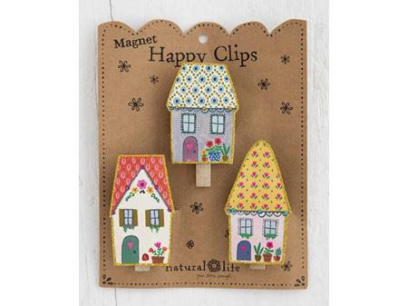 Natural Life Magnet Happy Clips Cottages Set 3