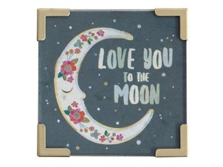 Natural Life Magnet with Metal Corners - Love You to the Moon