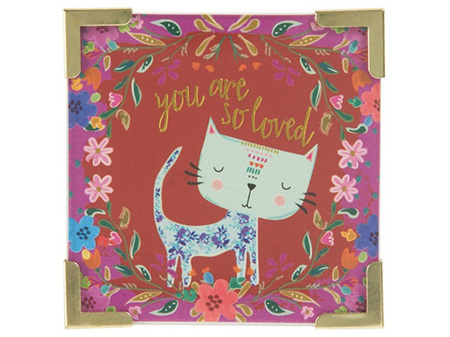 Natural Life Magnet with Metal Corners - You are So Loved  - Cat