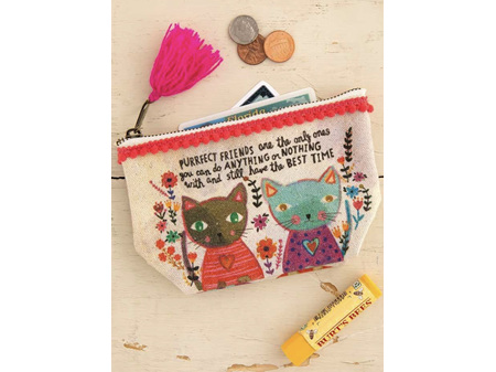 Natural Life Mini Canvas Pouch Purrfect Friends