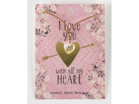 Natural Life Necklace Crystal Heart I Love You