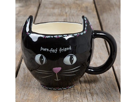 Natural Life Purr-fect Friend Cat Folk Art Mug