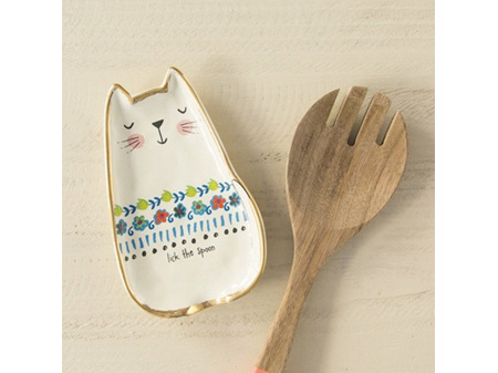 Natural Life Spoon Rest Cat Lick the Spoon