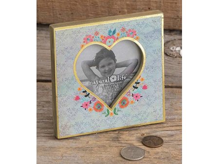 Natural Life Wooden Heart Photo Frame Turquoise Floral