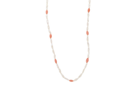 Natural Pearl and Coral Bead Necklace