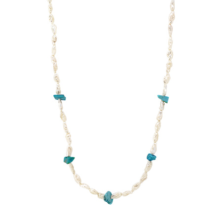 Natural Pearl and Turquoise Bead Necklace
