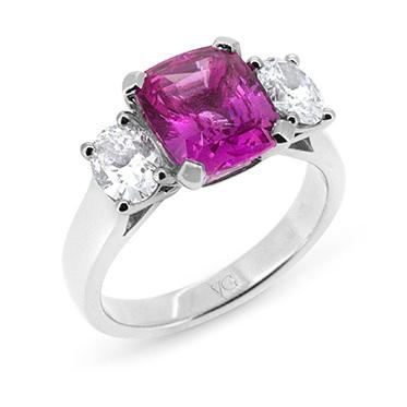 Natural Pink Cushion Cut Sapphire & Oval Diamond Ring