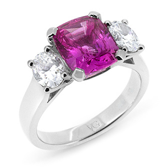 Natural Pink Cushion Cut Sapphire & Oval Diamond Ring