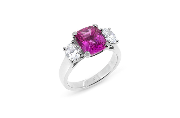 Natural Pink Cushion Cut Sapphire Oval Diamond Ring