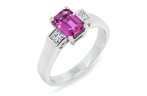 Natural pink sapphire and diamond ring crafted in platinum