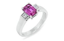 Natural Pink Sapphire & Diamond Ring
