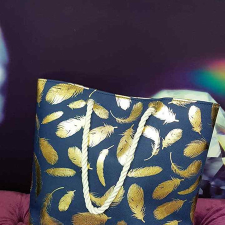 Navy and Gold Feather Bag
