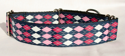 Navy and pink argyle