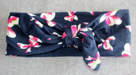 Navy Floral Knot Headband