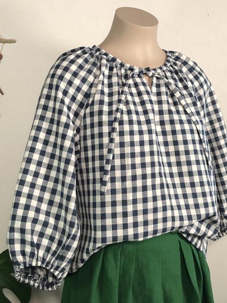 Navy Gingham Rei blouse