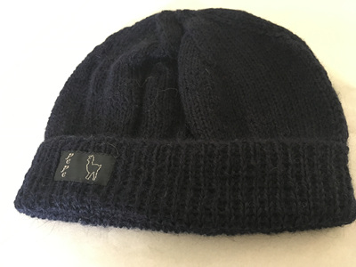 Navy Knitted Hat 4 Ply 100% Alpaca