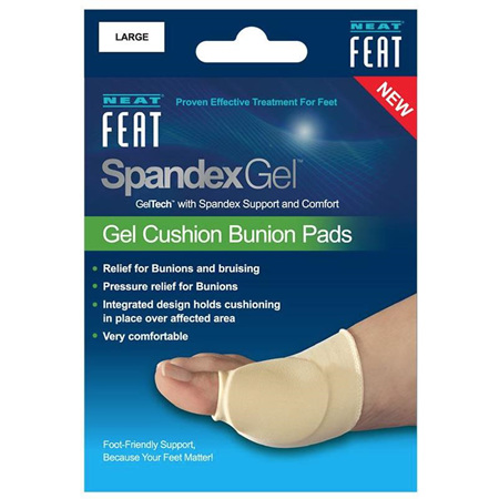 NEAT FEAT SPANDEX GEL CUSHION BUNION PADS SLEEVE - LARGE 1 PACK