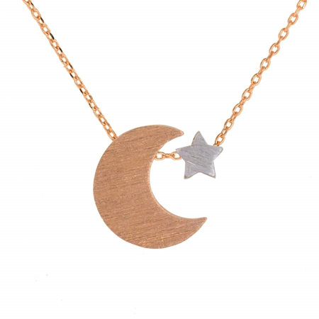 NECKLACE MOON AND STAR ROSE GOLD