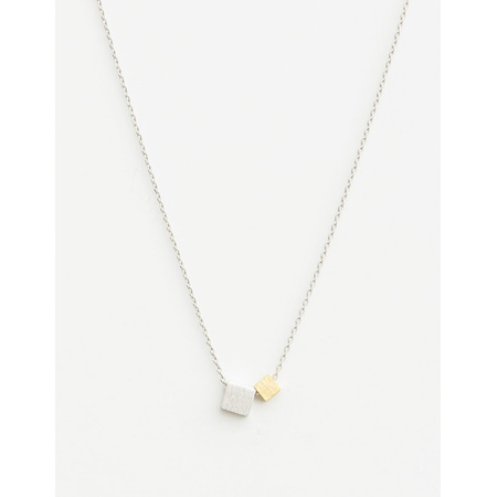 Necklace Two Cubes Silver / gold