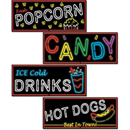 Neon Food Signs  Doublesided Cutouts x 4