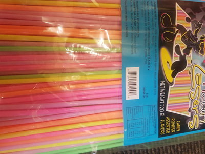 Neon straws x 240 - filled with sherbert