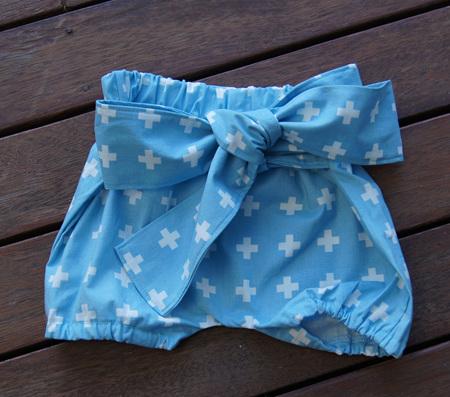 'Neve' Tie Bloomers, 'Aqua Plus' 100% Cotton. 9-12m