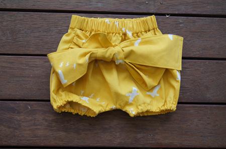 'Neve' Tie Bloomers, 'Flight, Golden' GOTS Organic Cotton. 0-3m