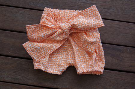 'Neve' Tie Bloomers, 'Scribble, Orange' 100% Cotton. 6-9m