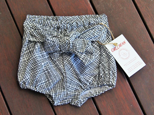'Neve' Tie bloomers, 'Thicket White' 100% Cotton, 0-3m