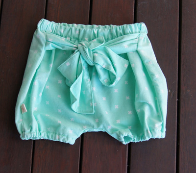 'Neve' Tie bloomers, 'XOXO Mint' 100% Cotton, 1 year