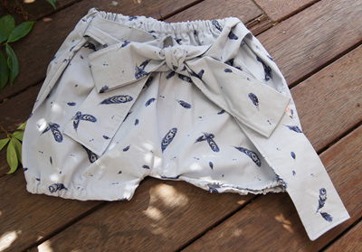 'Neve' Tie-Front Bloomers, 'Feather Fall' GOTS Organic Cotton, 18-24m