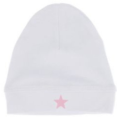 New Born Baby Hat - White with pink star