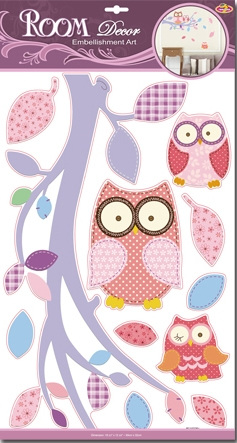 NEW - Pink Owls Wall Decals