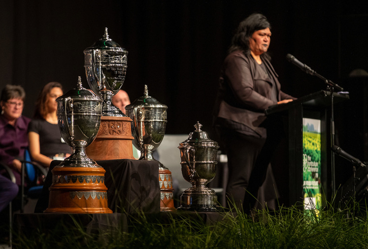 New Trophy being presented by Iwi (Tribal) Representatives of the Tainui Tribe