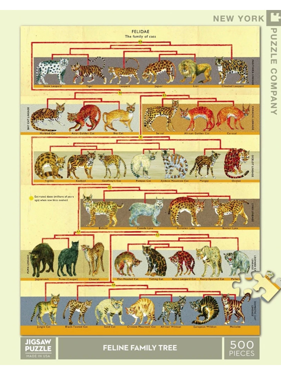 New York Puzzle 500pce  puzzle  Feline Family Tree buy at www.puzzlesnz.co.nz