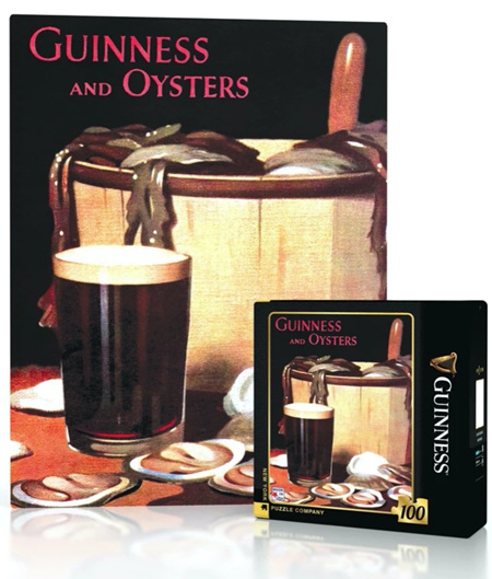 New York Puzzle Company 100 Piece Mini Jigsaw Puzzle : Guinness and Oysters